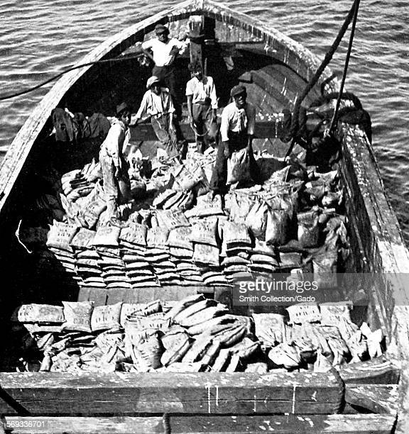 Boat filled with wolfram ore Chile 1922