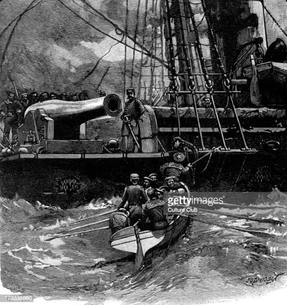 Boat from CSS Alabama announcing the surrender and asking for assistance during the Battle of Cherbourg in 1864. CSS Alabama had captured or...