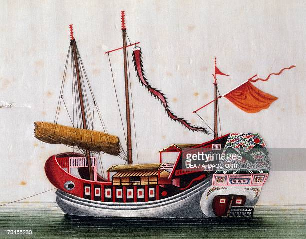 Boat from the eastern seas of China painted on silk by an unknown artist 19th century Genoa Pegli Civico Museo Navale