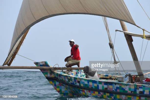 A boat fully made from recycled plastic waste collected at the shores of Kenyan beaches is seen sailing from Lamu to Zanzibar in Tanzania during an...