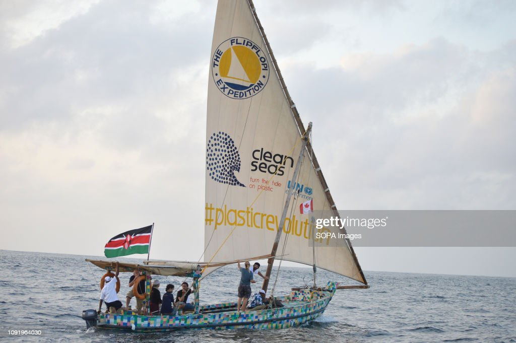 A boat fully made from recycled plastic waste collected at... : News Photo