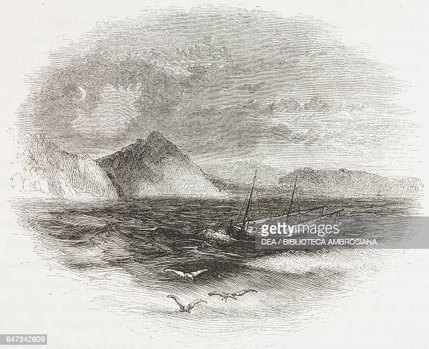 Boat Gulf of Corinth engraving from Greece Pictorial Descriptive and Historical by Christopher Wordsworth