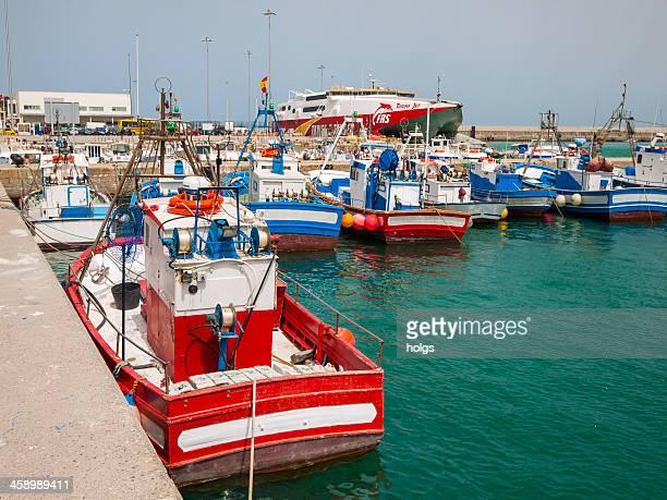 boat harbor in tarifa, spain - tarifa stock photos and pictures