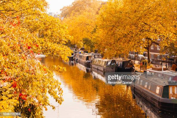 Boat houses in Little Venice during Autumn, London, England, UK