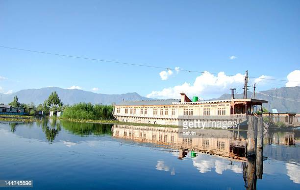 Boat houses on Dal lake in Srinagar