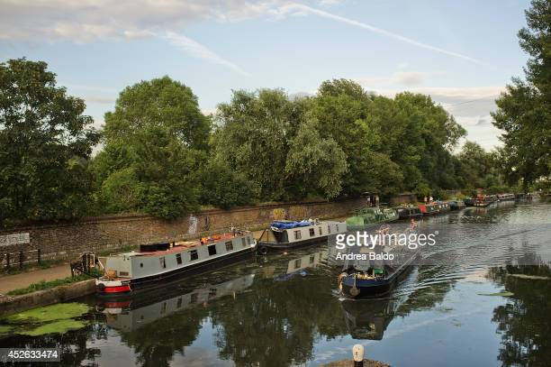 Boat houses on the Lea River in Lea Bridge East London