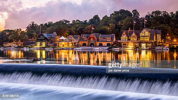 boat houses, philadelphia, pennsylvania, america - falling water stock photos and pictures