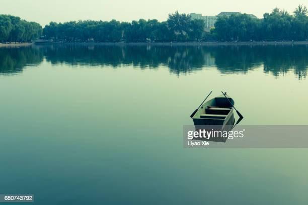boat in a lake - objet vert photos et images de collection