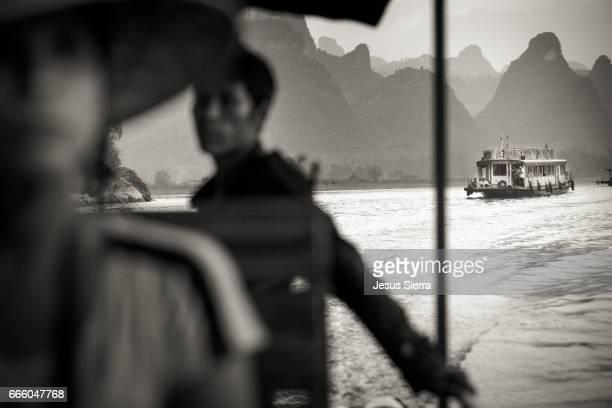 Boat in a river, XingPing, Yangshuo, Guangxi Province, China
