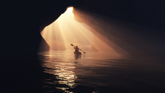 Boat in cave. 613216824