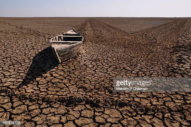 Boat in desert, Rann of Kutch, India