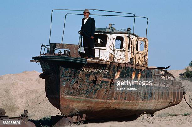 Boat in Dried Area of Aral Sea