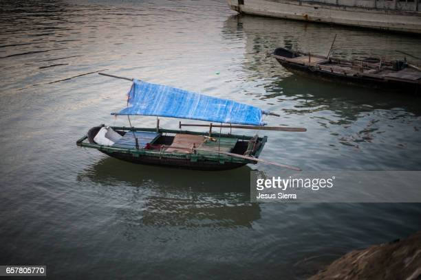 boat in gia luan harbour, cat ba island, vietnam. - laughing jesus images stock pictures, royalty-free photos & images