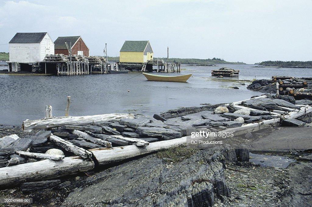 Boat in harbour, Blue Rocks, Nova Scotia, Canada : Stock Photo