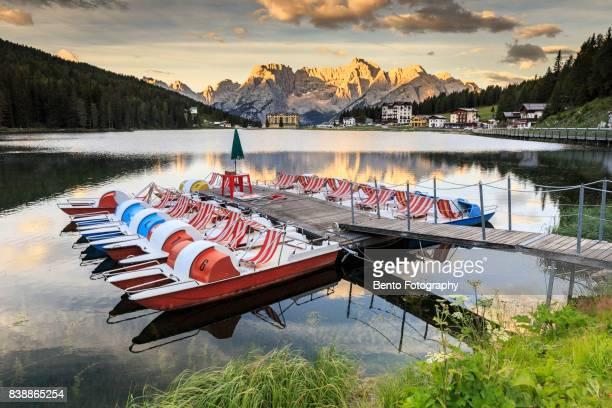 Boat in Lake misurina, Dolomite, Italy.