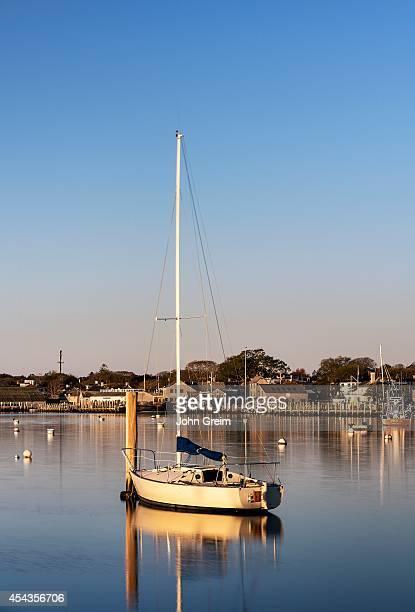 S VINEYARD OAK BLUFFS MASSACHUSETTS UNITED STATES Boat in Oak Bluffs Harbor