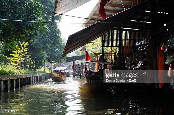 Boat In River At Market Stall