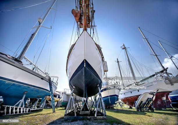 Boat in shipyard Against Sky