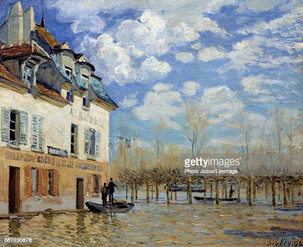 Boat in the flood at Port Marly Painting by Alfred Sisley 1876 05 x 061 m Orsay Museum Paris