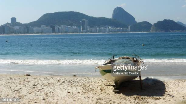 Boat in the sand in Copacabana