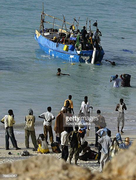 A boat is about to embark 07 September 2007 on a voyage to Yemen ferrying illegal migrants mainly Ethiopian nationals from Shinbivale beach 17 kms...