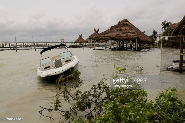 A boat is aground the shore after Hurricane Delta struck near Cancún on October 07 2020 in Cancun Mexico Hurricane Delta reached Mexican east coast...