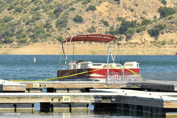 A boat is docked and roped off with police tape at Lake Piru where actress Naya Rivera was reported missing Wednesday on July 9 2020 in Piru...