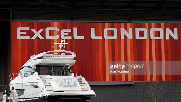 A boat is driven into Excel London so it can be displayed at the London Boat Show at ExCel on December 18 2015 in London England The London Boat Show...