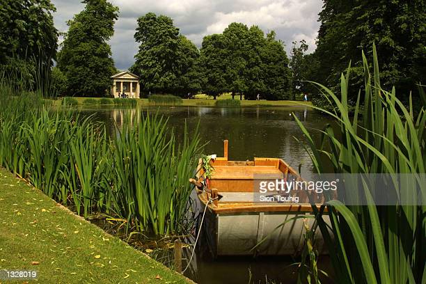 A boat is moored at Oval Lake the burial place of Diana Princess of Wales June 28 2001 as Althorp Estate is reopened to the public in Great Brington...