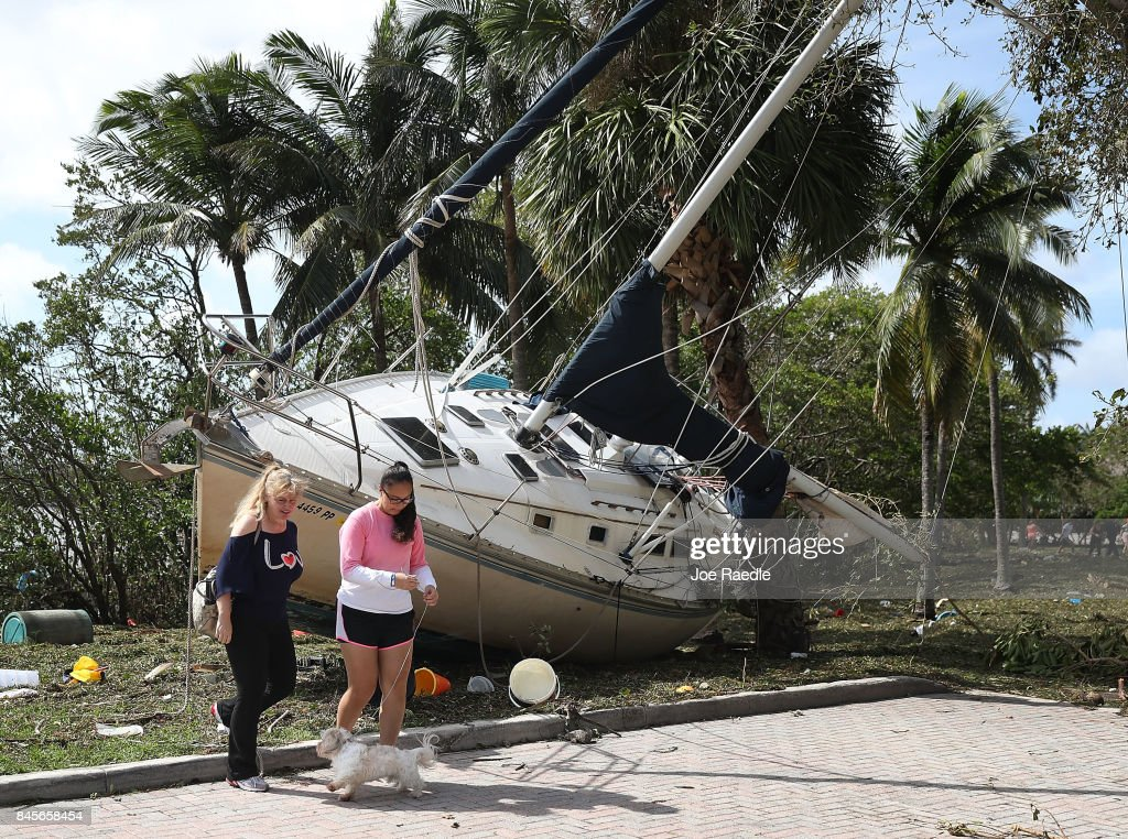 A boat is seen washed ashore at the Dinner Key marina after hurricane Irma passed through the area on September 11, 2017 in Miami, Florida. Florida took a direct hit from the Hurricane.