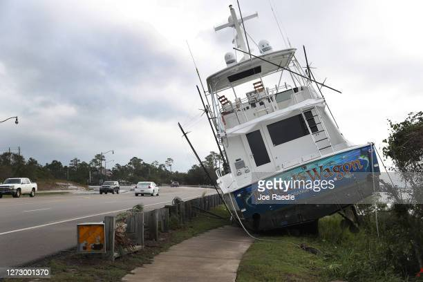 A boat is seen washed up on shore after Hurricane Sally passed through the area on September 17 2020 in Orange Beach Alabama The storm brought heavy...