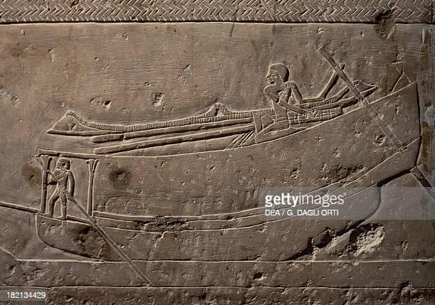 Boat load of merchandise relief Mastaba of Ipy Saqqara Egyptian Civilisation New Kingdom Dynasty V
