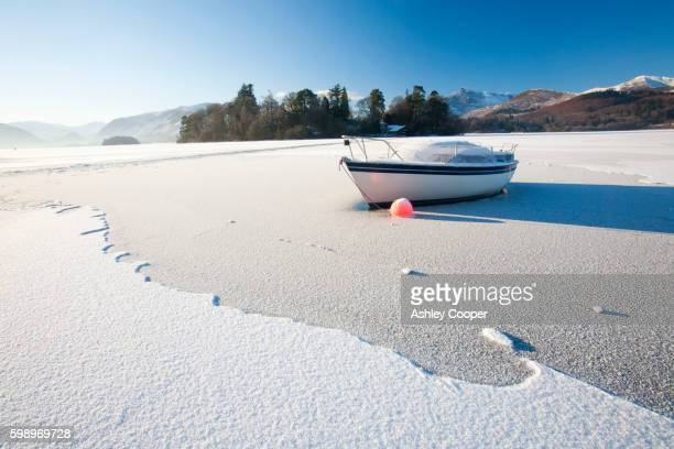 A boat locked in the ice on Derwent Water at Keswick in the Lake District completely frozen over during the December 2010 big chill.
