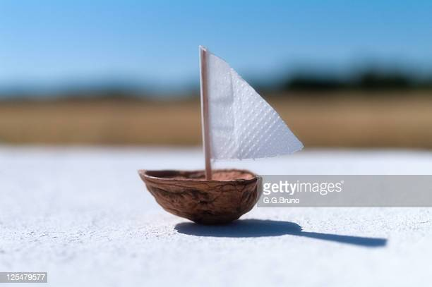 boat made from half nutshell and paper - nutshell stock photos and pictures