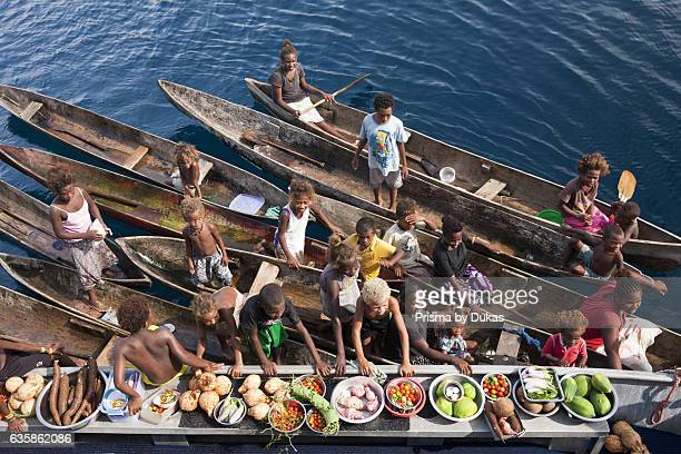 Boat Market with Fruits and Vegetables Florida Islands Solomon Islands