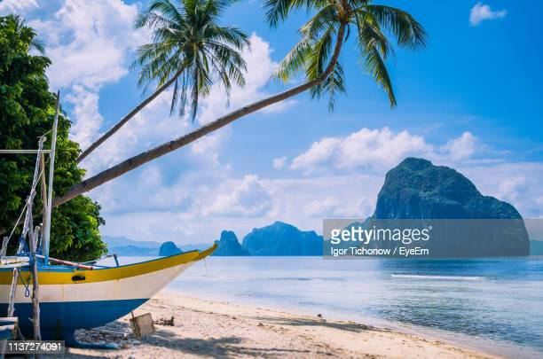 boat moored at beach against sky - palawan stock pictures, royalty-free photos & images
