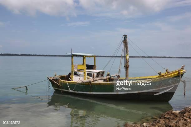 Boat moored at Kurikadduvan Harbour in Northern Sri Lanka