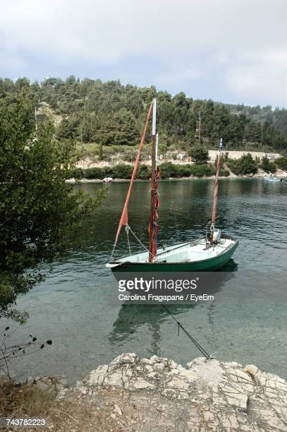 boat moored by trees against sky - carolina fragapane stock pictures, royalty-free photos & images