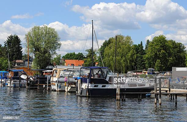 boat mooring for motorboats on Havel River (Berlin, Germany)