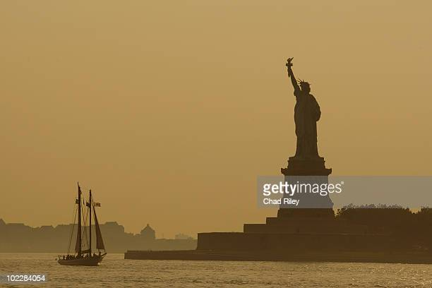 Boat near Statue of Liberty, New York