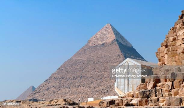 Boat of Ra museum next to the Pyramid of Khafre or of Chephren is the secondtallest and secondlargest of the Ancient Egyptian Pyramids of Giza and...