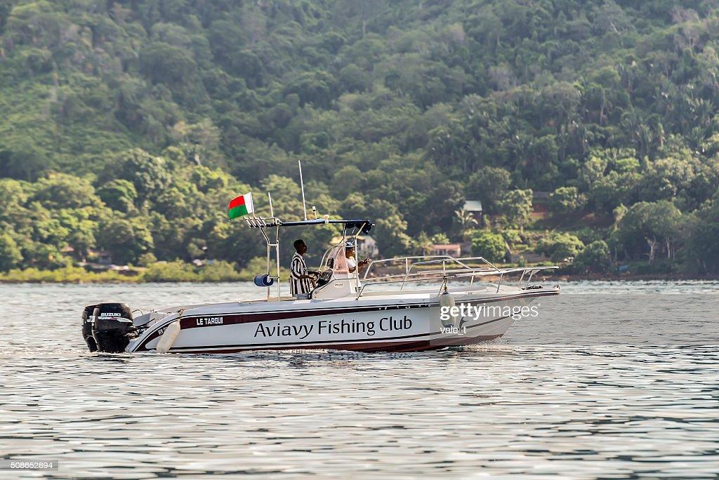 Boat of the Aviavy Fishing Club Nosy Be Madagascar : Stock Photo