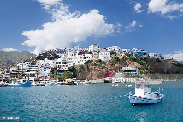 Boat off the seaside village of Agia Galini, Crete, Greece