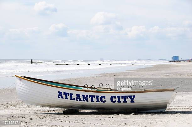 Boat on Atlantic City beach