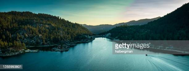 boat on big bear lake at sunset - aerial panorama - big bear lake stock pictures, royalty-free photos & images
