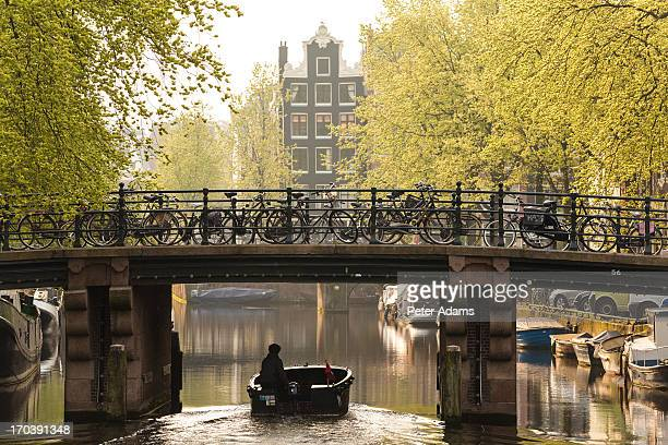 Boat on Canal, Amsterdam, Holland, Netherlands