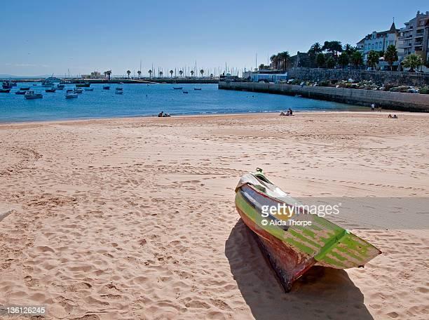 Boat on Cascais, Portugal beach