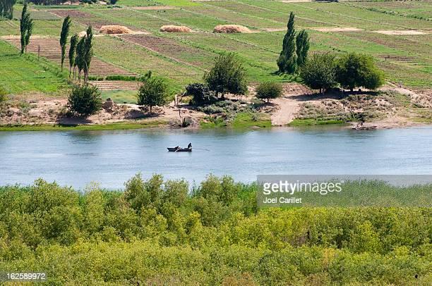Boat on Euphrates River near Dura Europos (Tell Salhiye), Syria