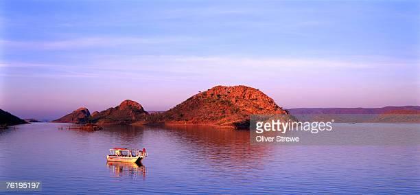 Boat on Lake Argyle, East Kimberley, Kimberley, Western Australia, Australia, Australasia