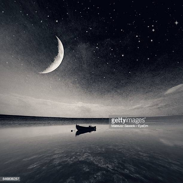 Boat On Lake At Night